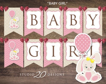Instant Download Pink Bunny Baby Shower Banner, Little Rabbit Bunting Banner, Printable Easter Baby Shower Pendent Banner 43A