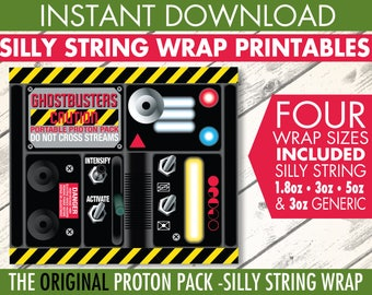 Ghost-busters Silly String Portable Proton Pack Label - Ghost-buster Birthday Party - Silly String Label   INSTANT Download PDF Printables