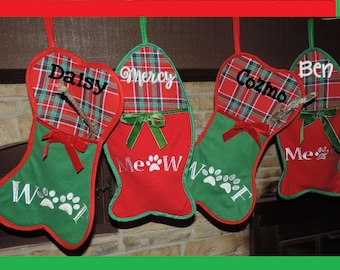 Personalized Christmas Stockings - Dog Bone and Cat Fish Embroidered With Your Pet's Name