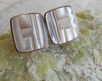 Mother of Pearl Inlay Sterling Earrings Geometric Design