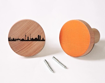 1 BERLIN & 1 Copper Wooden Coat Racks Natural Knobs Wall Hooks Garment Organizer - hand screenprinted - City Dots BERLIN Skyline - 44spaces
