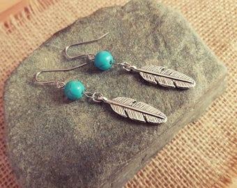 Feather earrings, boho hippy festival jewellery, surgical steel earrings