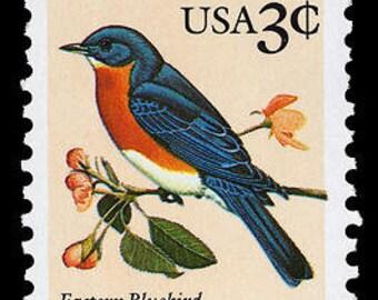 Ten (10) vintage unused postage stamps - Eastern Bluebird // 3 cent stamps