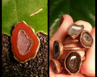 Made 4 U  *** Copper Tabasco Geode Ring