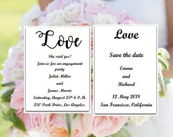 Wedding SET template, Engagement Party, Save The Date, Printable wedding invitation, editable wedding invitation, Instant Download