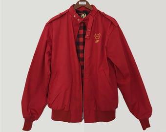 Vintage uniform jacket / embroidered jacket / red bomber jacket / 80s jacket /80s windbreaker /windbreaker jacket / 80s bomber / made in usa