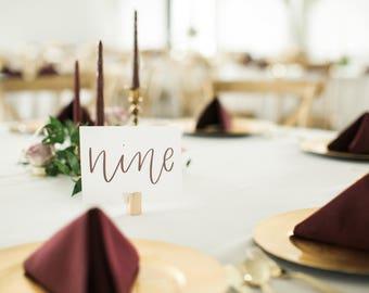 Calligraphy Wedding Table Numbers - Handlettered Table Numbers - Wedding Table Decor - Table Numbers - Wedding Table - Wedding Calligraphy
