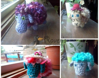 Sheep Amigurumi with real Sheep Locks- MADE to ORDER- OOAK, Spring, Easter, shower gift, collectible
