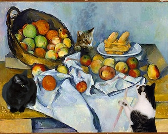 Cat Art, Wall Art Print, Cat Lover Gift, Still Life, Cat Artwork, Art Prints, Cézanne Parody, Whimsical Print, Deborah Julian