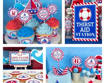Nautical BIRTHDAY Party Printable Package & Invitation, INSTANT DOWNLOAD, You Edit Yourself with Adobe Reader
