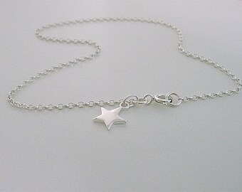 Ankle Bracelet, Sterling Silver Anklet, Star Anklet, Star Charm Anklet, Boho Anklet, Ankle Chain, gift for her, bridesmaid gift, handmade