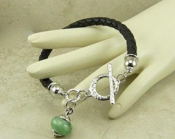 Irish Isles Braided Leather and Lampwork Bracelet - St Patricks Day Shamrock Green Spring - Bolo Toggle I ship Internationally B3-29