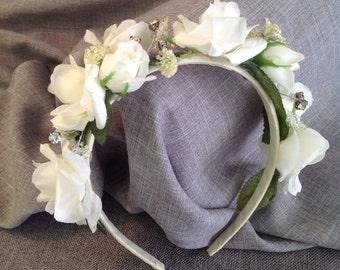 Ivory Rose and Rinestone Headband Ivory