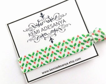Mistletoe Christmas Hair Ties - Christmas Stocking Stuffers, Christmas Gift for her, Holiday Gifts for Girls, Christmas Party Favors