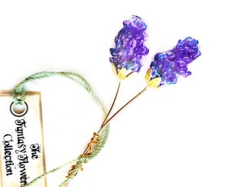 Summer Lilac Lampwork Flower Headpin Pair