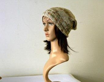 Phrygian cap, Elegant Knit beanie, alpaca wool knit hat, slouchy beanie camouflage oatmeal green  Inspirational womens