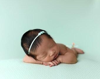 MINT BABY Headband, Newborn Headband, Mint Headband, Photography Prop, Infant Headbands, Baby Headbands, Skinny Mint Headband