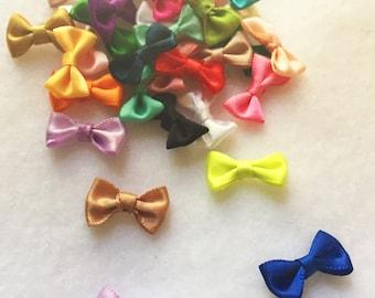 30pc mix colors tiny satin bows sew on bows glue on satin bows headband appliqué bow girls hair accessory A109