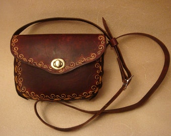 Lyn Brown Tooled Leather Crossbody Bag - Shoulder Purse - Handbag - NSS1