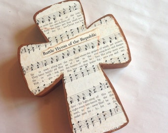 The Battle Hymn of the Repuic Wooden Wall Hymnal Cross MADE TO ORDER