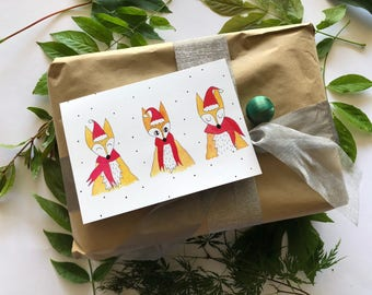 Fox Watercolour Greeting Cards, Merry Foxmas Christmas Card