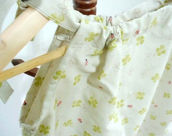 Pillowcase dress - Japanese Clover and Ladybug in narutal - 2T - 4T - Fabric imported from Japan