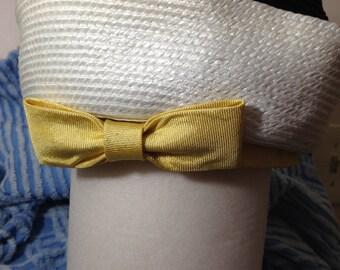 Woman's HAT Cloche Bucket Raffia Yellow White Black.Cherry & Webb
