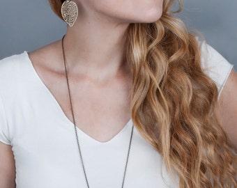 Boho Earrings, Leaf Earrings, Large Filigree Earrings, Boho Leaf Earrings, Woodland Earrings, Rustic Jewelry, Big Dangle Earrings Bohemian