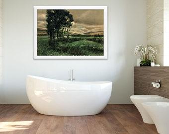 "Bathroom Art, Dining Room Art, Living Room Art  ""Before the Storm"", Antique Art Print Restored, 1910s #52  FREE SHIPPING"