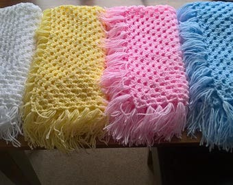 Custom made hand crochet baby blankets made in all colours