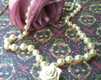 Swarovski Pearl Necklace Ivory Pearls Hand Knotted Ivory Polymer Clay Rose