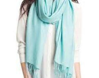 Personalized Embroidered Pashmina Scarf - Monogrammed Accessory - Ice Blue Personalized Scarf - Bridesmaid Gift - Gifts for Her - GC896