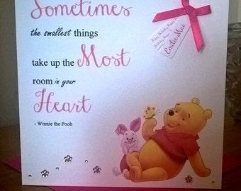 Handmade Personalised Birthday Card Winnie the Pooh Design