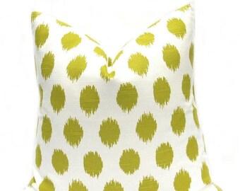 15% Off Sale Green Pillow, Ikat Pillows, Green Pillow Cover, Throw Pillows, Polka Dot, Green Pillow Case, Cushion Cover, Green Accent Pillow