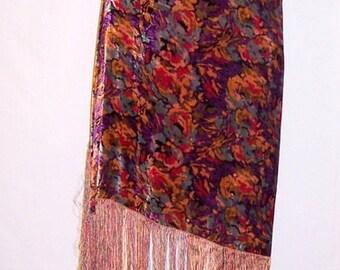 1920's Art Deco-Multi-Colored Silk Velvet Shawl with Fringe