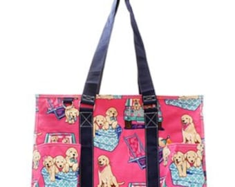 Monogrammed Pink Dog pattern Utility Tote Bag, travel bag, beach bag
