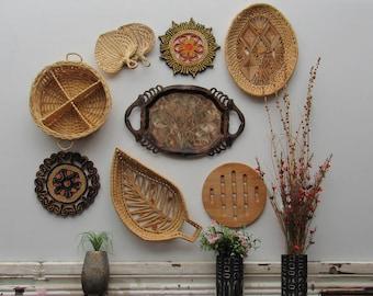 wall straw art - Tribal Straw - set of 9 pieces - boho decor -tribal style art - wicker basket wall art- rattan