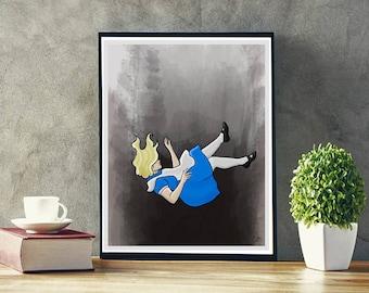 Alice in Wonderland, Alice, Art, Drawing, Illustration, Digital Art, Wall Art, Digital Download, Watercolor, 8x10, 11x14, 16x20, Poster