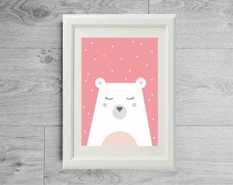 Pink polar bear print - Snow poster - Pastel print - Pastel tones - Pink nursery print - Animal print - Girl nursery pink - Girl room decor