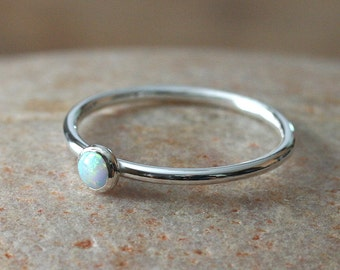 White Opal Stacking Ring 4mm, Sterling Silver Ring, Size 2 to 15, October Birthstone, Simulated Opal, Womens Ring, Bridesmaid Gift for Her