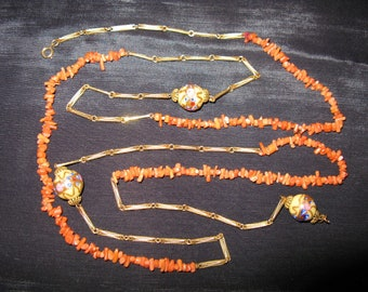 1920s Flapper Necklace Long 50 inches Links Coral Wedding Cake Beads