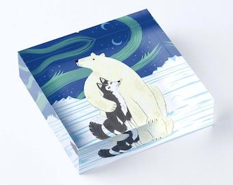 "The Polar Bear and The Husky - Acrylic 'Ice' Block - Children's Decor - Kids room - Nursery Decor - 6"" x 6"" -  iOTA iLLUSTRATION"