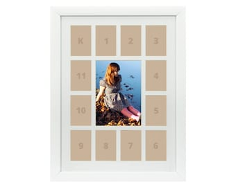 Craig Frames, 12x16 Inch White School Years Frame, Single White Collage Mat with 13 Openings (622121601C32A)