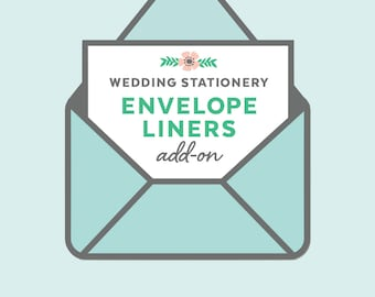 custom envelope liners, wedding invitation add-on, printed envelope liners