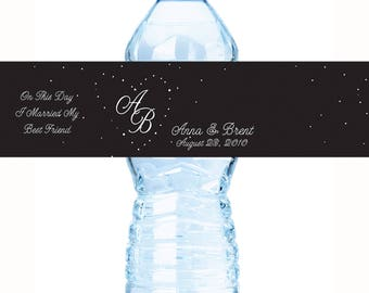 30 Wedding Water Bottle Labels, Personalized Water Bottle Labels, Water Bottle Wraps, Personalized Bottle Labels