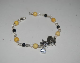 Artistic Wire Wrapped Yellow Black Busy Bee Little Girl Bracelet
