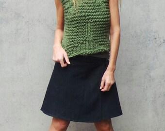 Green vest, green sweater vest, green tank, women's clothing, green top, green chunky vest, clothing