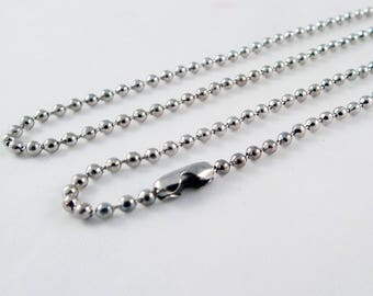 SBC103 - 52 cm bead ball chain silver necklace with lobster clasp