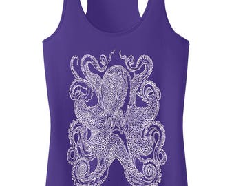 Ocean Octopus.Women's Polly-Cotton Racerback Tank Top.Octopus Shirt Gift.Octopus Clothing.Nautical Clothing Squid SEEMBO