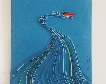 original paper art. boat